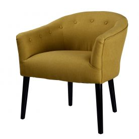 Yellow Tufted Fabric Club Chair