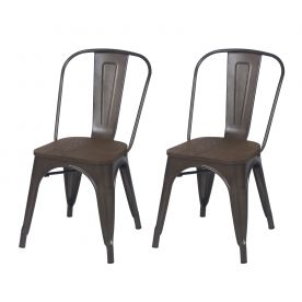 Sheetmetal Frame Tolix Style Bar Chairs with Back - Set of 2 (bronze with wooden seat)