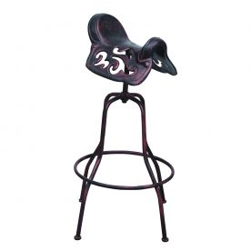 Industrial Metal Rivet Adjustable Saddle Design Seat Bar Stool (Antique Bronze)