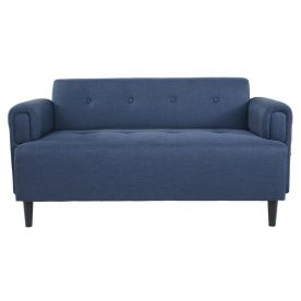 Navy Blue 2-Seat Fabric Sofa with Wooden Legs.