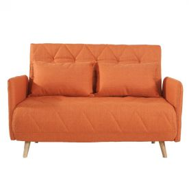 Orange 2-Seat Fabric Sofa Bed Sofa Bed with 2 Cushsions.