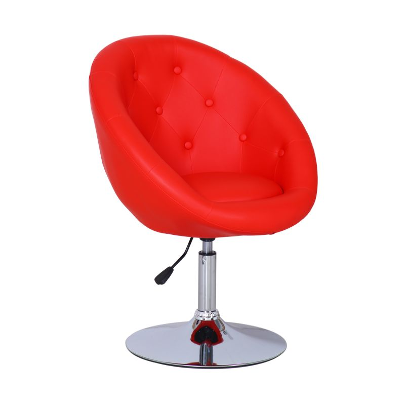 Red Egg shape Cushioned Leatherette Adjustable Swivel Home Office Chair.