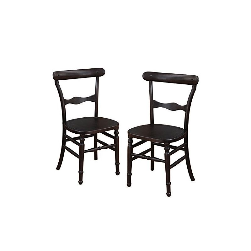 Vintage Style Curved Back Wood Chair with Decorative Slats - Set of 2.