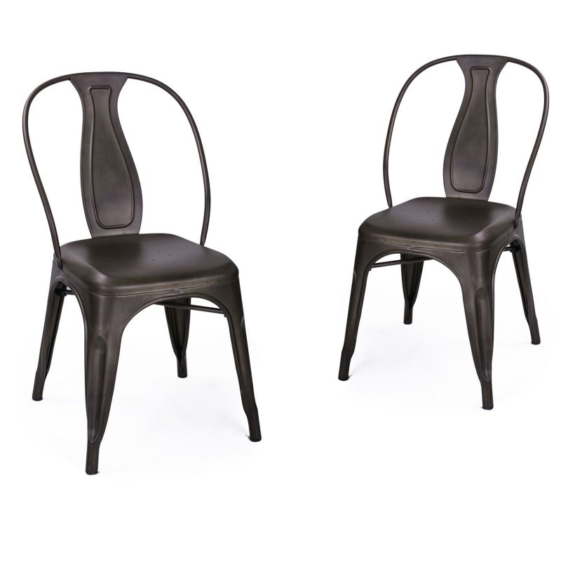 Bronze Metal Stacking Dining Chairs (Set of 2)