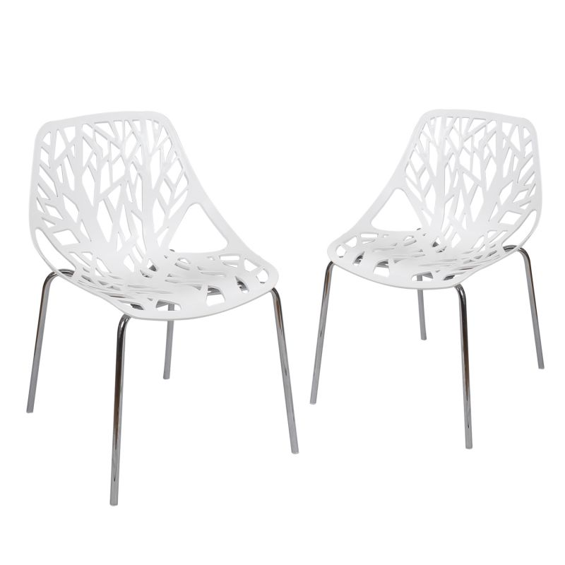 Tree Cucoloris Design Modern Dining Chairs with Chrome Legs (Set of Two)