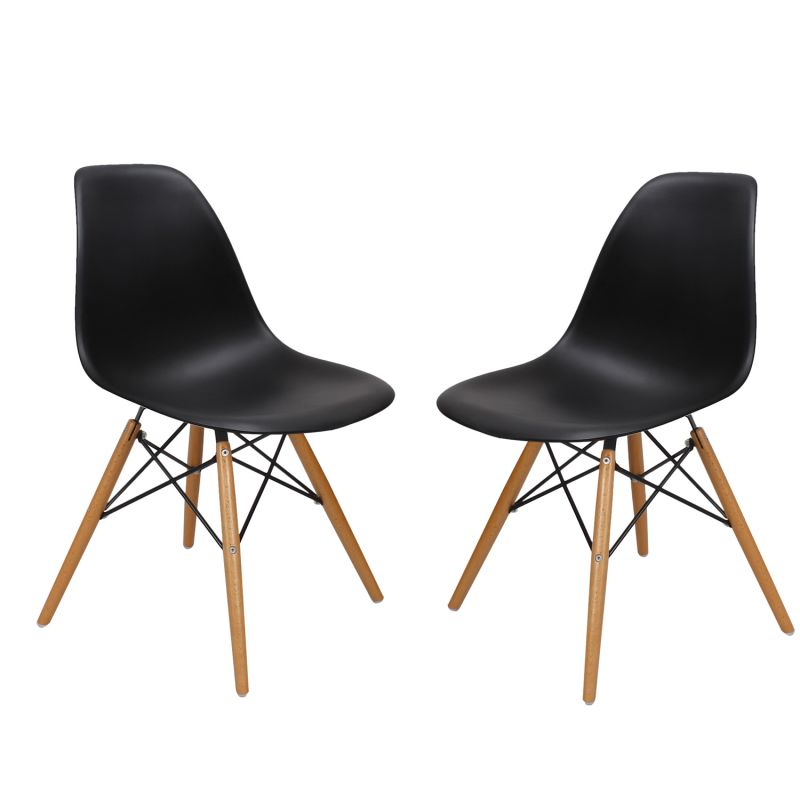 Black Charles & Ray Eames¶ÿModern Dining Chairs with Birch Wood Legs (Set of Two)