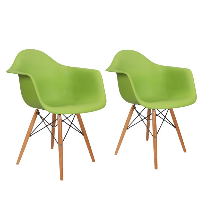 Green Charles & Ray Eames¶ÿModern Dining Chairs / Armchairs with Birch Wood Legs (Set of Two)