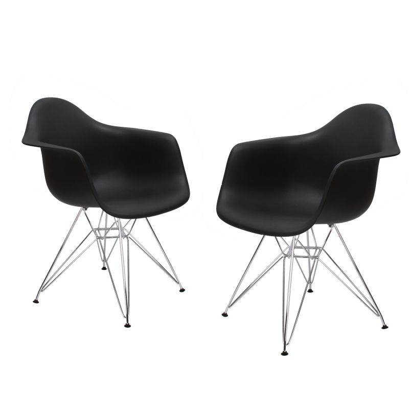 Black Charles & Ray Eames Modern Dining Chairs / Armchairs with Chrome Legs (Set of Two)