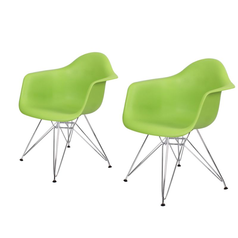Green Charles & Ray Eames Modern Dining Chairs / Armchairs with Chrome Legs (Set of Two)