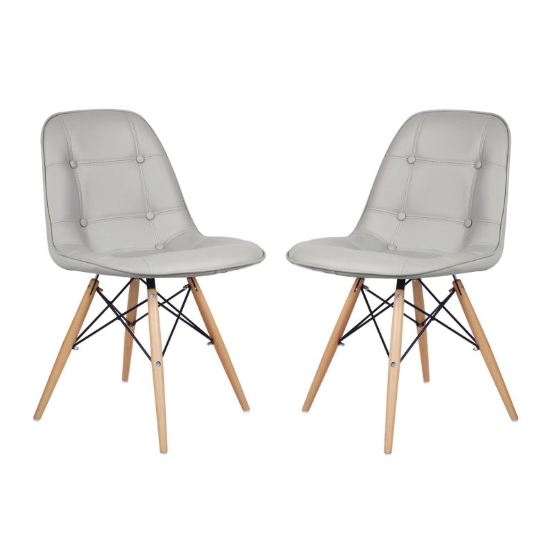 Side Chair with Wooden Legs(set of Two)