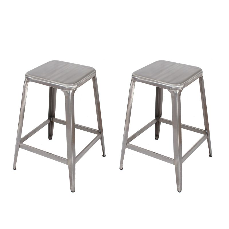 Gunmetal / Natural Durable Powder Coated Finish 24-inch Metal Counter Stools (Set of Two)