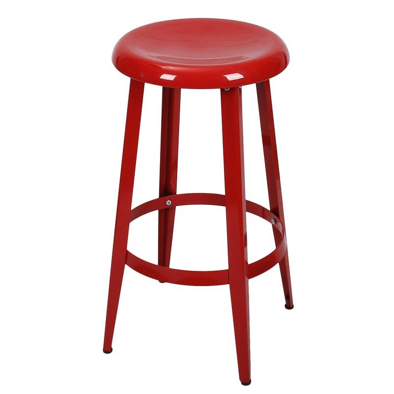 Fantastic Decenthome Red 26 Inch Metal Counter Stools Single Ch0226 1 Cjindustries Chair Design For Home Cjindustriesco