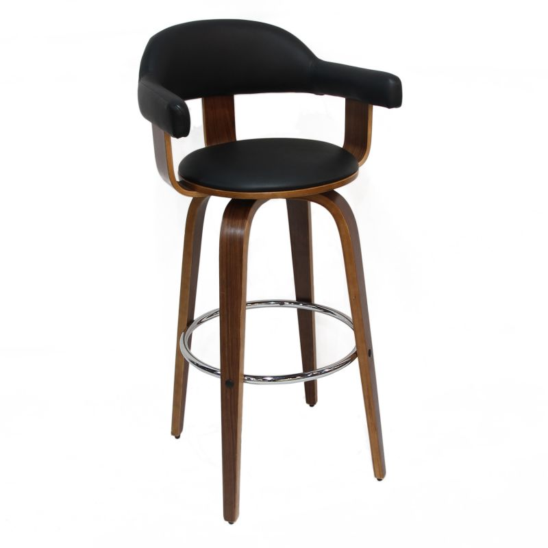 Black PU Leather Semi Open Back Bar Stool