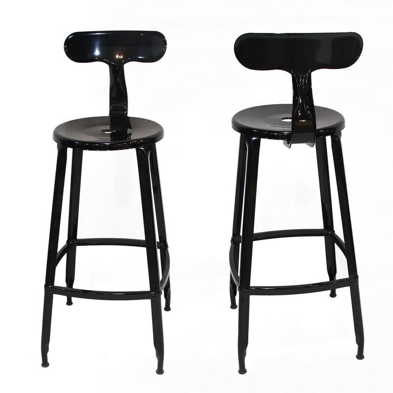 Decenthome Black Metal Bar Stool With Back Ch0268 1 Ach268 1