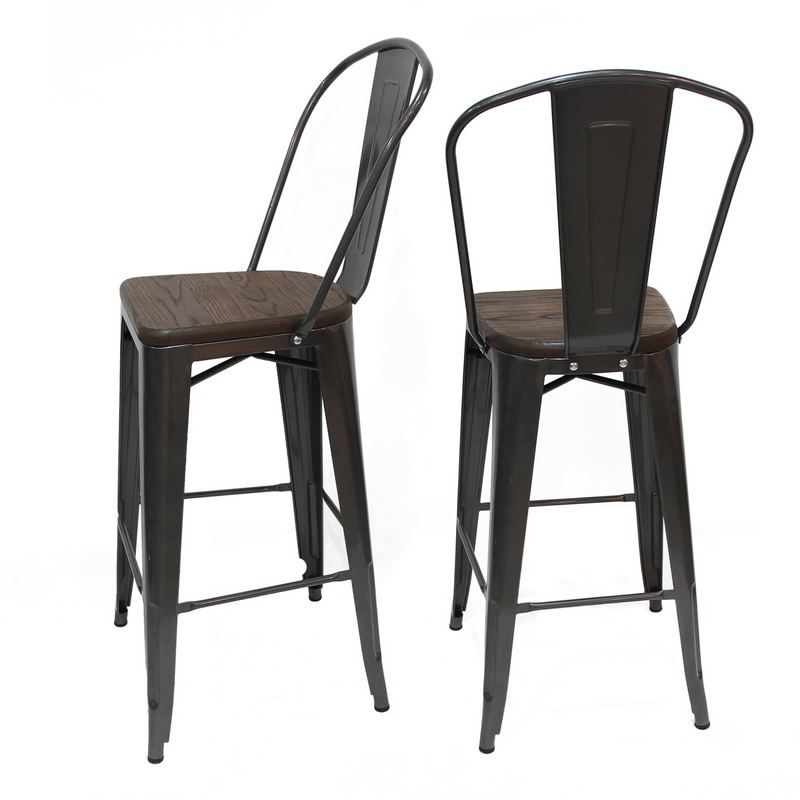 Decenthome Glossy Bronze Metal Bar Stool With Back Wooden Seat