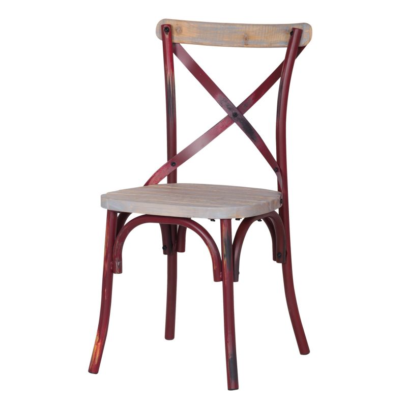 Distressed Metal Chair with Cross Back Designed