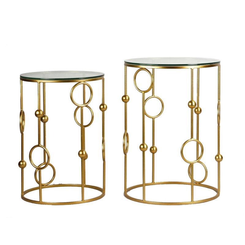 Decenthome glass top metal round side table ft0063 aft63 - Metal side tables for living room ...