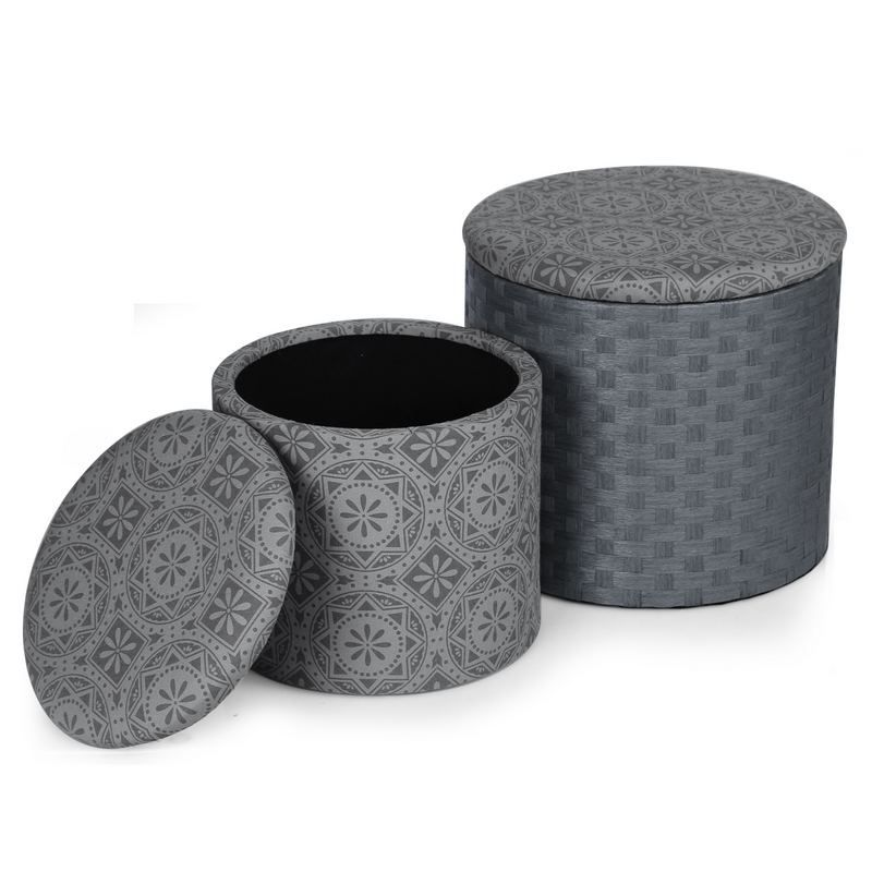 Marvelous Decenthome 2 Piece Fabric Round Storage Ottoman Dark Grey Print Ft0070 Caraccident5 Cool Chair Designs And Ideas Caraccident5Info