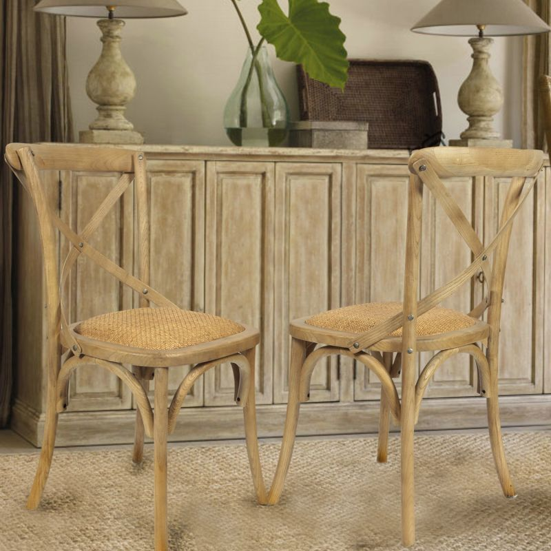 Tan Elm Wood Vintage-Style Dining Chairs  (Set of two).