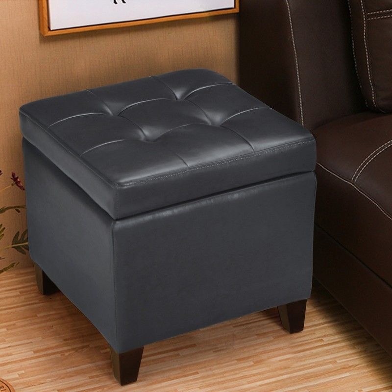 Grey  Bonded Leather Square Ottoman