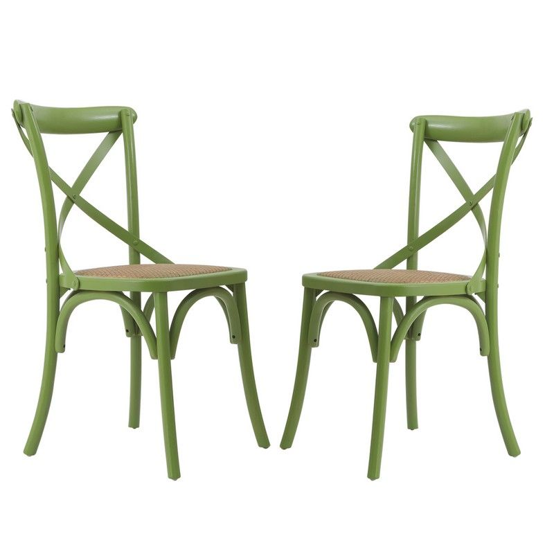Green Elm Wood Vintage-Style Dining Chairs (Set of two).