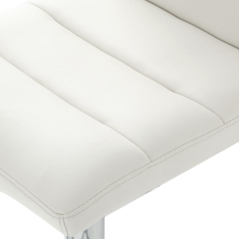 Cream Horizontal Tufting Leatherette Bar Stools (Set of two).