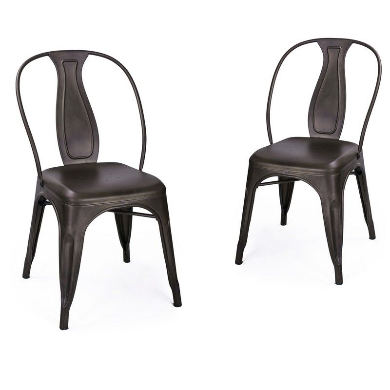 {[en]:Dark Bronze Metal Stackable Dining Chairs with Full Back