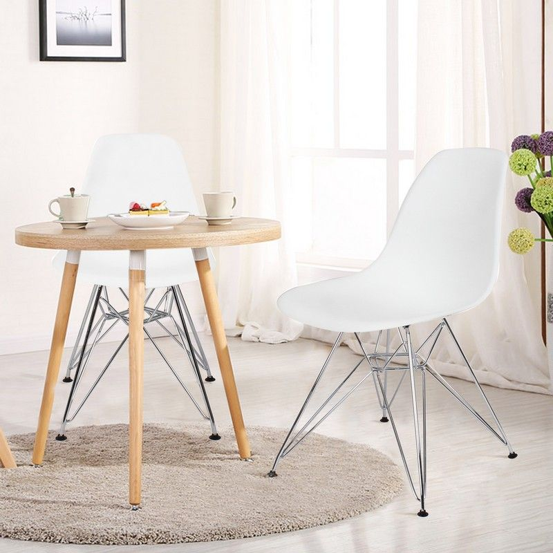 White Charles & Ray Eame Modern Dining Chairs with Chrome Legs (Set of Two)