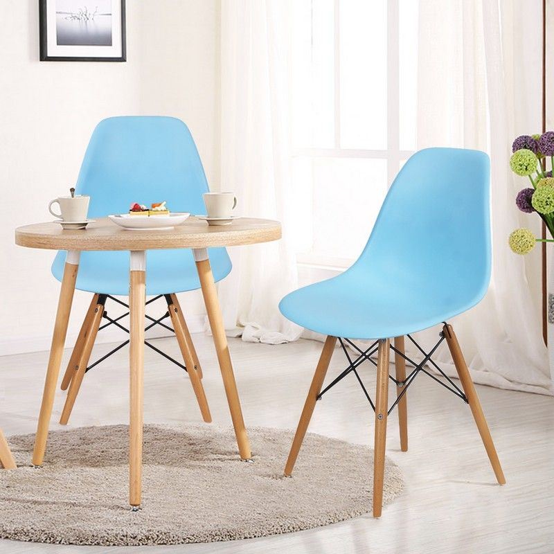 Light Blue Charles & Ray Eames¶ÿModern Dining Chairs with Birch Wood Legs (Set of Two)