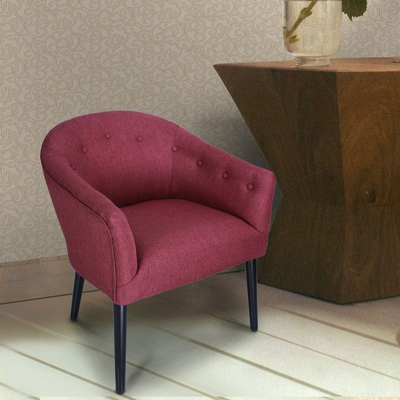 Red Tufted Fabric Club Chair