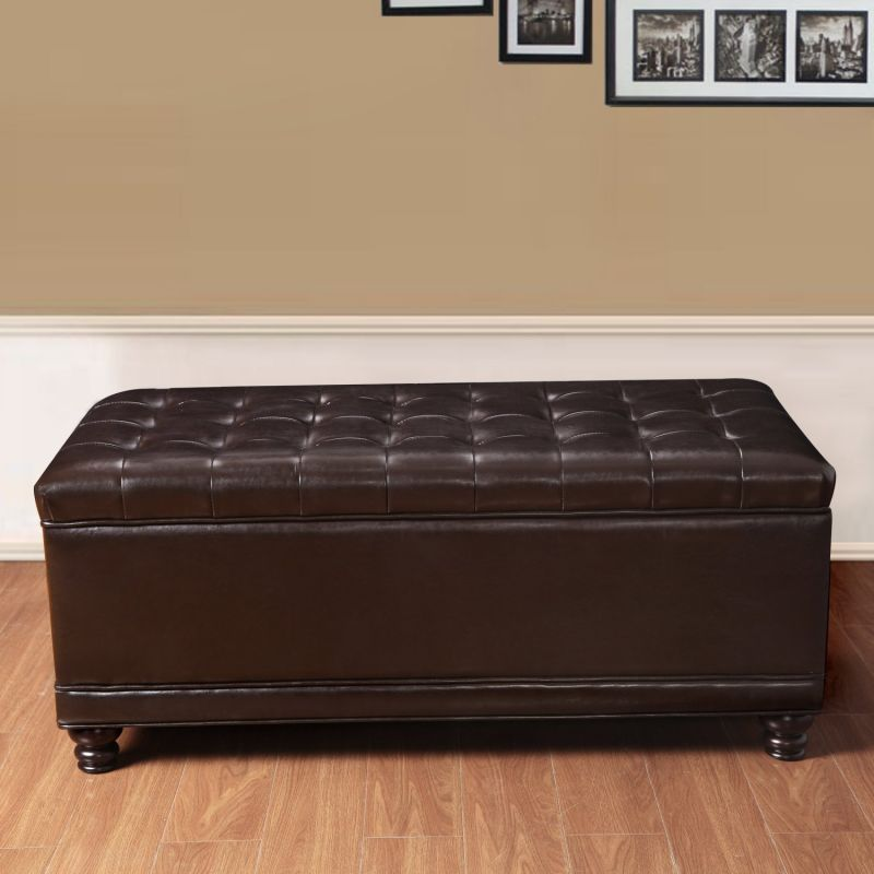 "Brown Bonded Leather Rectangular Tufted Storage Ottoman Footstool 43x22"" - Free Shipping!."