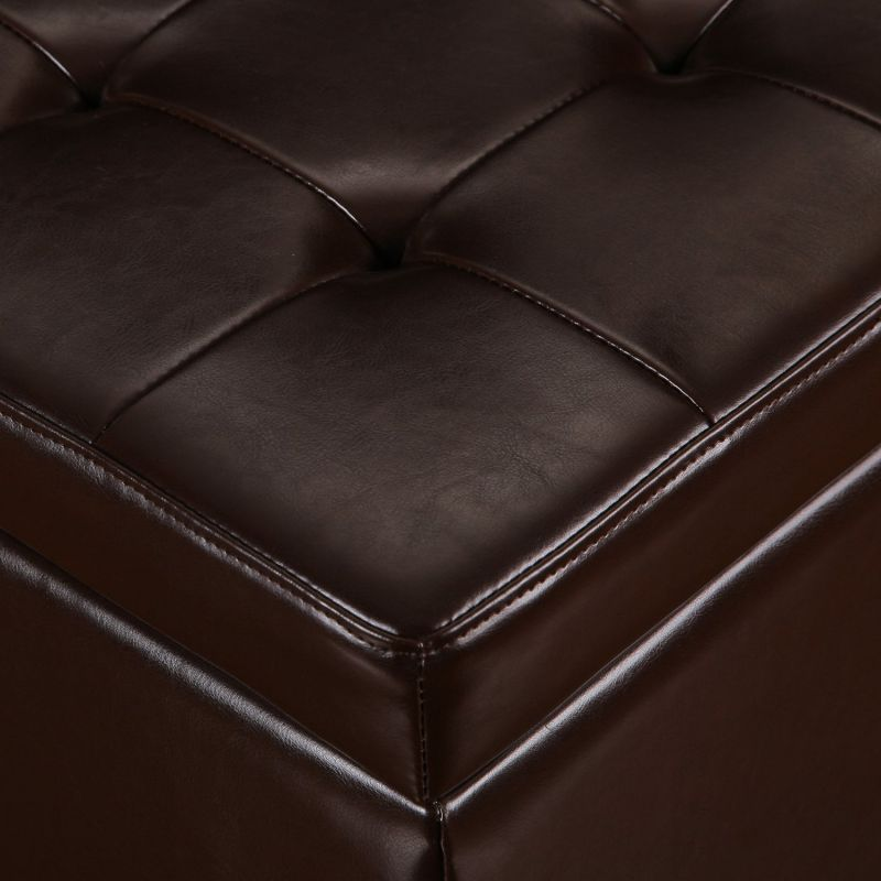 "Brown Bonded Leather Square Tufted Storage Ottoman Footstool 18""."