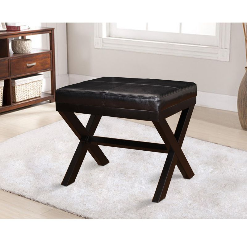 """Black Bonded Leather Contrast Stitch Ottoman Footstool with X-Shaped Legs 19.25x16.5""""."""