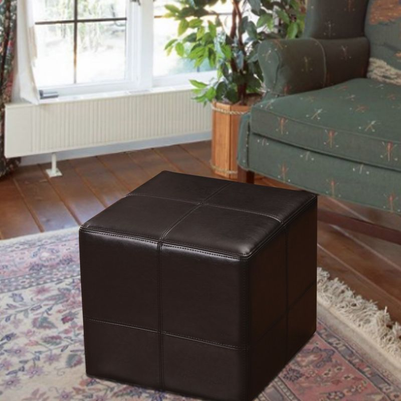 Brown Bonded Leather Contrast Stitch Square Cube Ottoman Footstool.