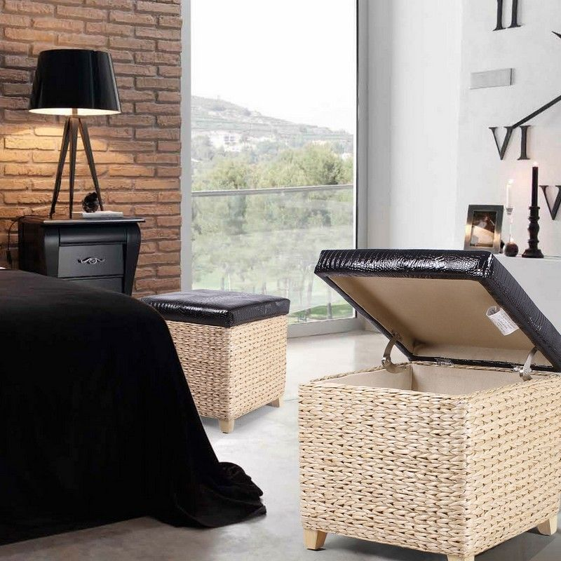 Square Storage Ottoman / Stool with Bulrush Body & Black Faux Leather Lid