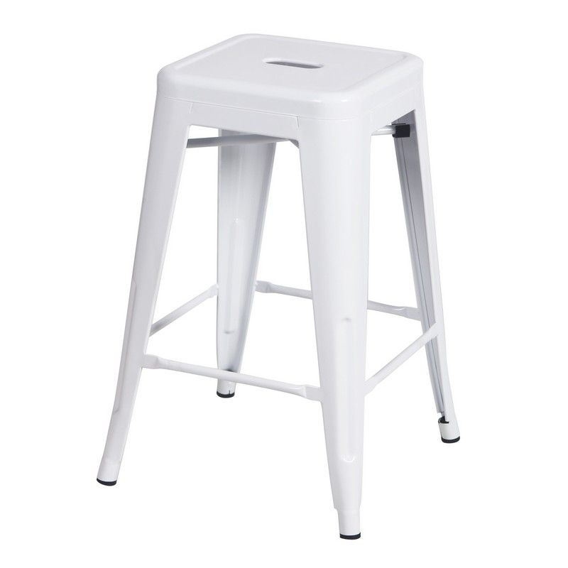 24/30 Inches Sheet Metal Frame Tolix Style Bar Stool - Set of 2 (24 Inches White)