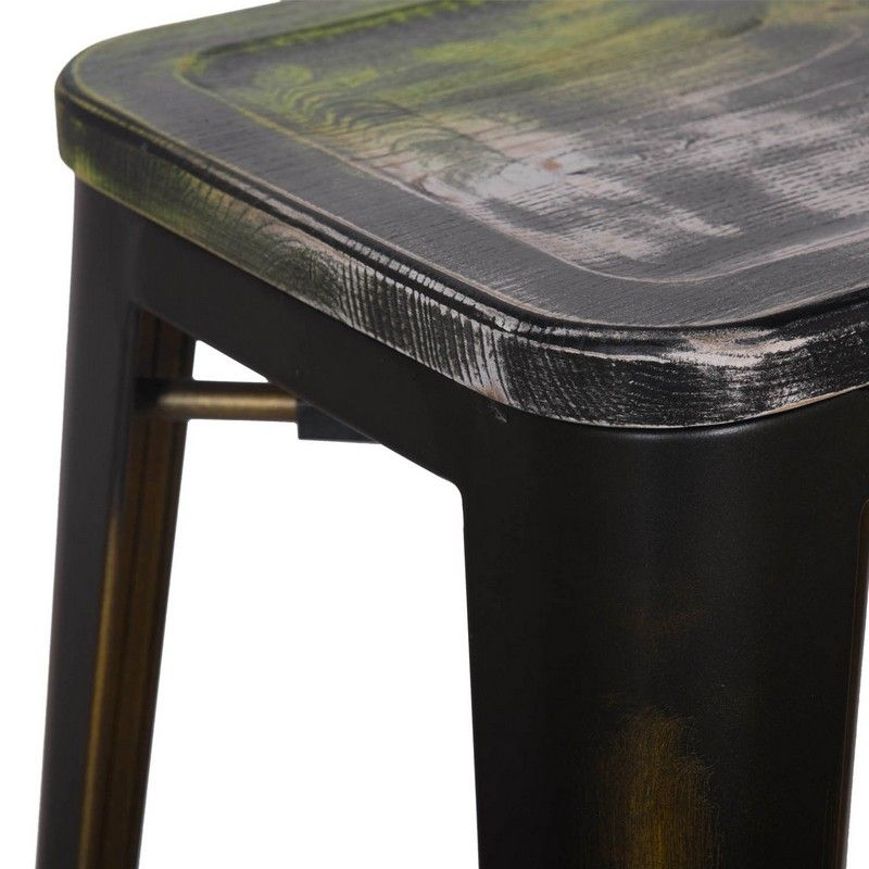 30 Inches Distressed Metal Bar Stool with Wooden Seat