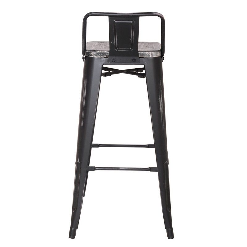 30 Inches Distressed Metal Bar Stool With Low Back