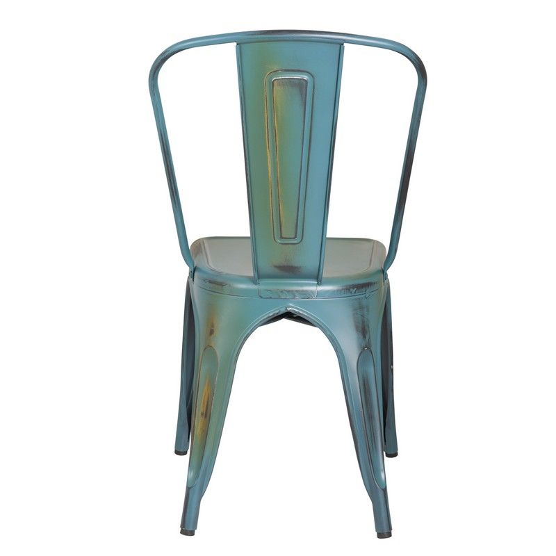 Stackable Distressed Metal Dining Chairs