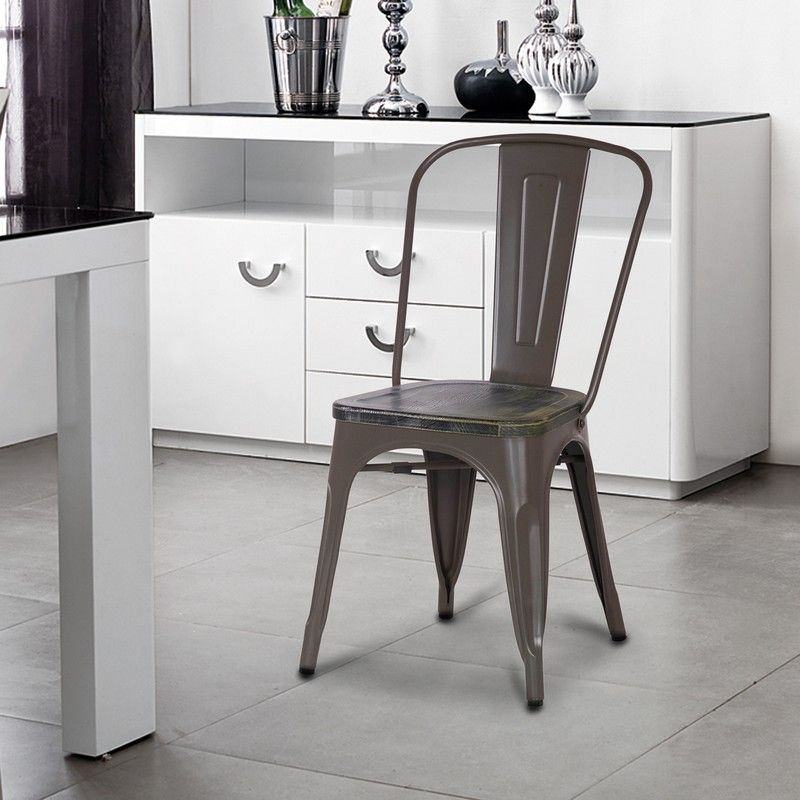 Stackable Distressed Metal Dining Chairs with Wooden Seat