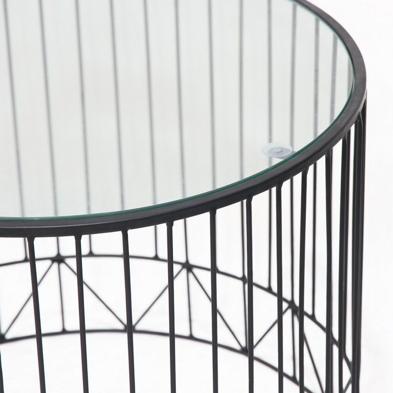 Black Accent Metal Round End Table with Glass Top