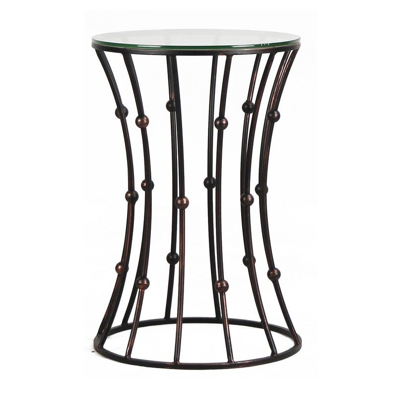Black Accent Metal Curve Shaped Round End Table with Glass Top.