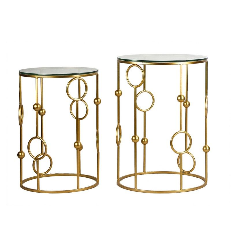 Golden Modern Designed Accent Metal Round End Table with Glass Top