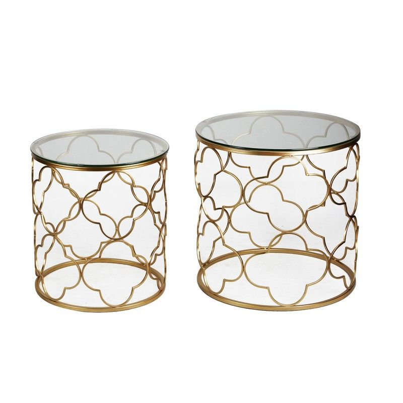 Golden Quatrefoil Designed Accent Metal Round End Table with Glass Top