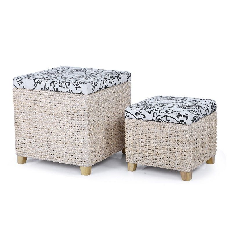 Flowers Print Small Storage Ottoman with Bulrush Weave