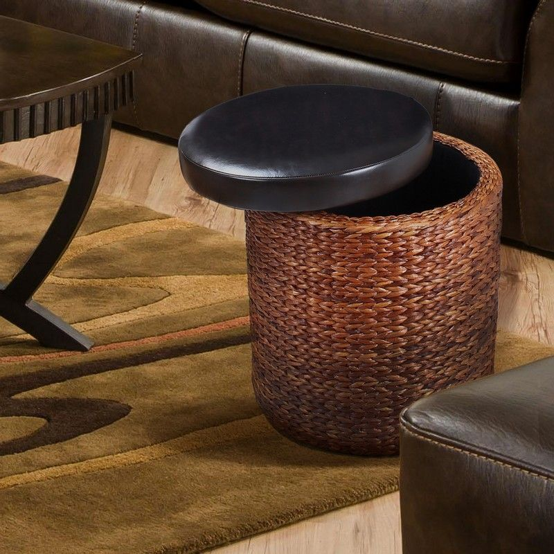 Round Storage Ottoman / Stool with Bulrush Body & Black Faux Leather Lid