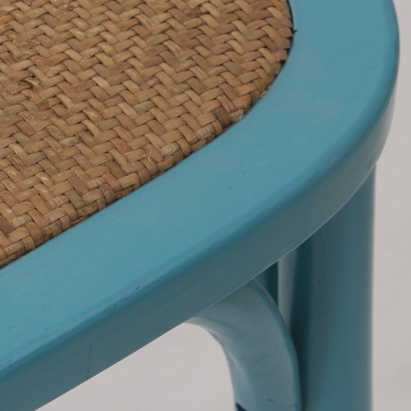 Elm Wood Dining Chair with Woven Rattan Seat.